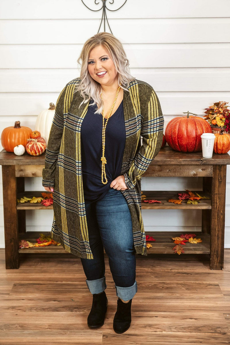 Glitzy Girlz Boutique Curvy Turn The Page Cardigan, Mustard Blend