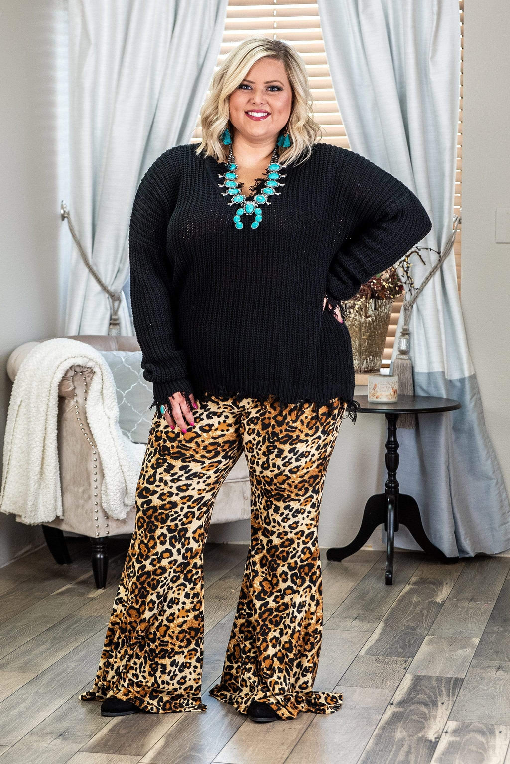 Glitzy Girlz Boutique Curvy Turn To Wild, Leopard, Plus Size Flare Pant