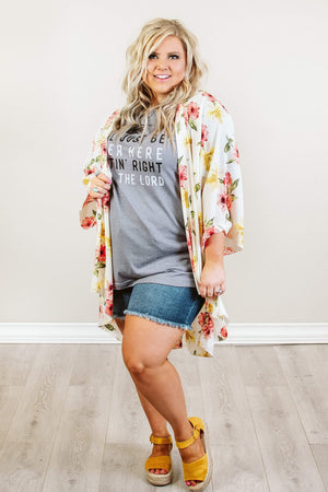 Glitzy Girlz Boutique Curvy Walking Among The Flowers Kimono, Ivory
