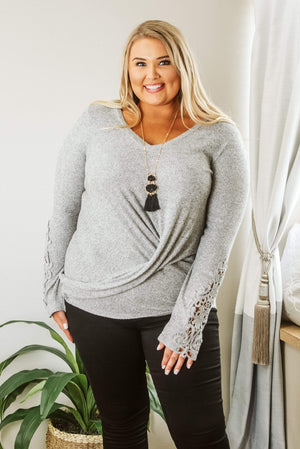 Glitzy Girlz Boutique Curvy Wish You Were Here Top, H. Grey