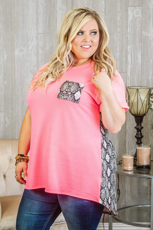 Glitzy Girlz Boutique Curvy Won Me Over Top, Pink