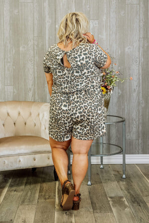 Glitzy Girlz Boutique Curvy You Make My Heart Sing Plus Size Romper, Leopard