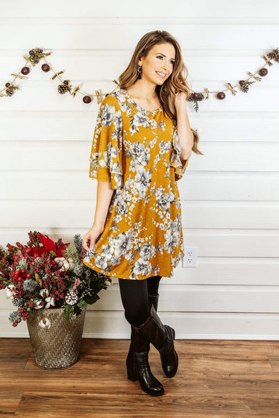 Glitzy Girlz Boutique Cute As Ever Dress, Mustard/Grey