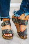 Glitzy Girlz Boutique Dina Wedge Sandal, Camo