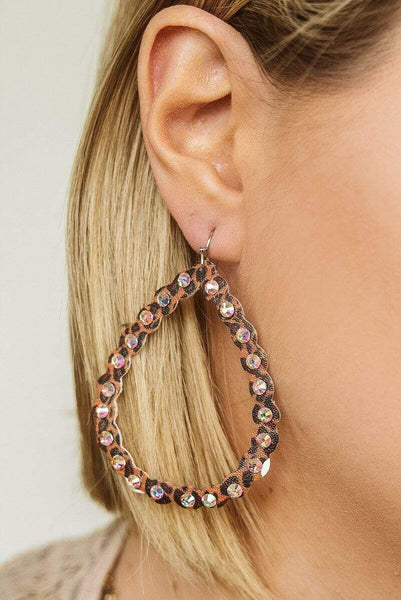 Glitzy Girlz Boutique Disco Fever Earrings, Leopard