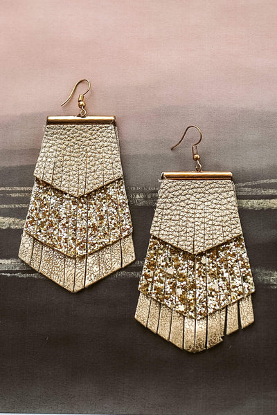 Glitzy Girlz Boutique Downtown Lights Earrings, Gold