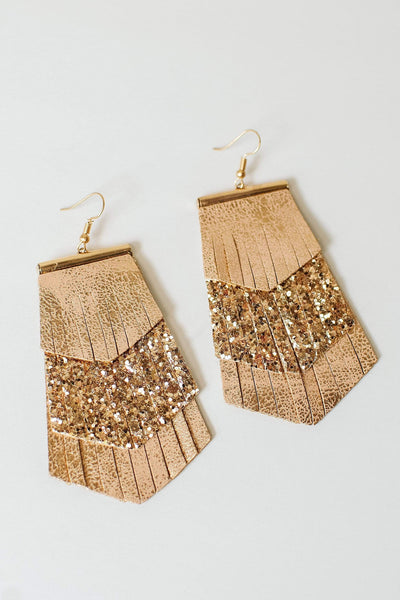 Glitzy Girlz Boutique Downtown Lights Earrings, Rose Gold