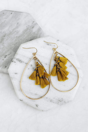 Glitzy Girlz Boutique Dreamy Delight Earrings, Mustard