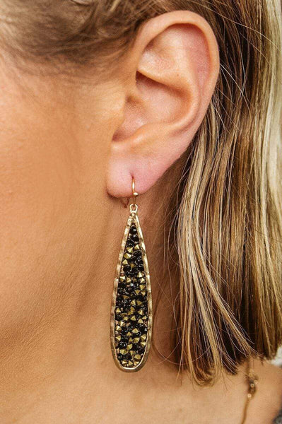 Glitzy Girlz Boutique Earthly Vibes Earrings, Black/Gold