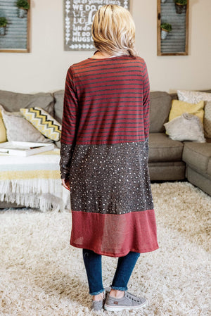 Glitzy Girlz Boutique Escape With Me Cardigan, Burgundy