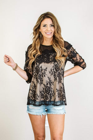 Glitzy Girlz Boutique Evening Beauty Top, Black/Nude