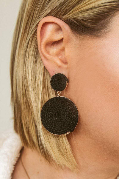 Glitzy Girlz Boutique Fall Around The Bend Earrings, Black