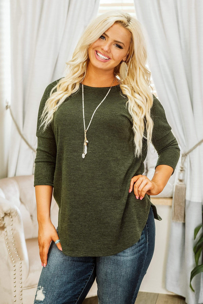 Glitzy Girlz Boutique Fall Fever Top, Olive