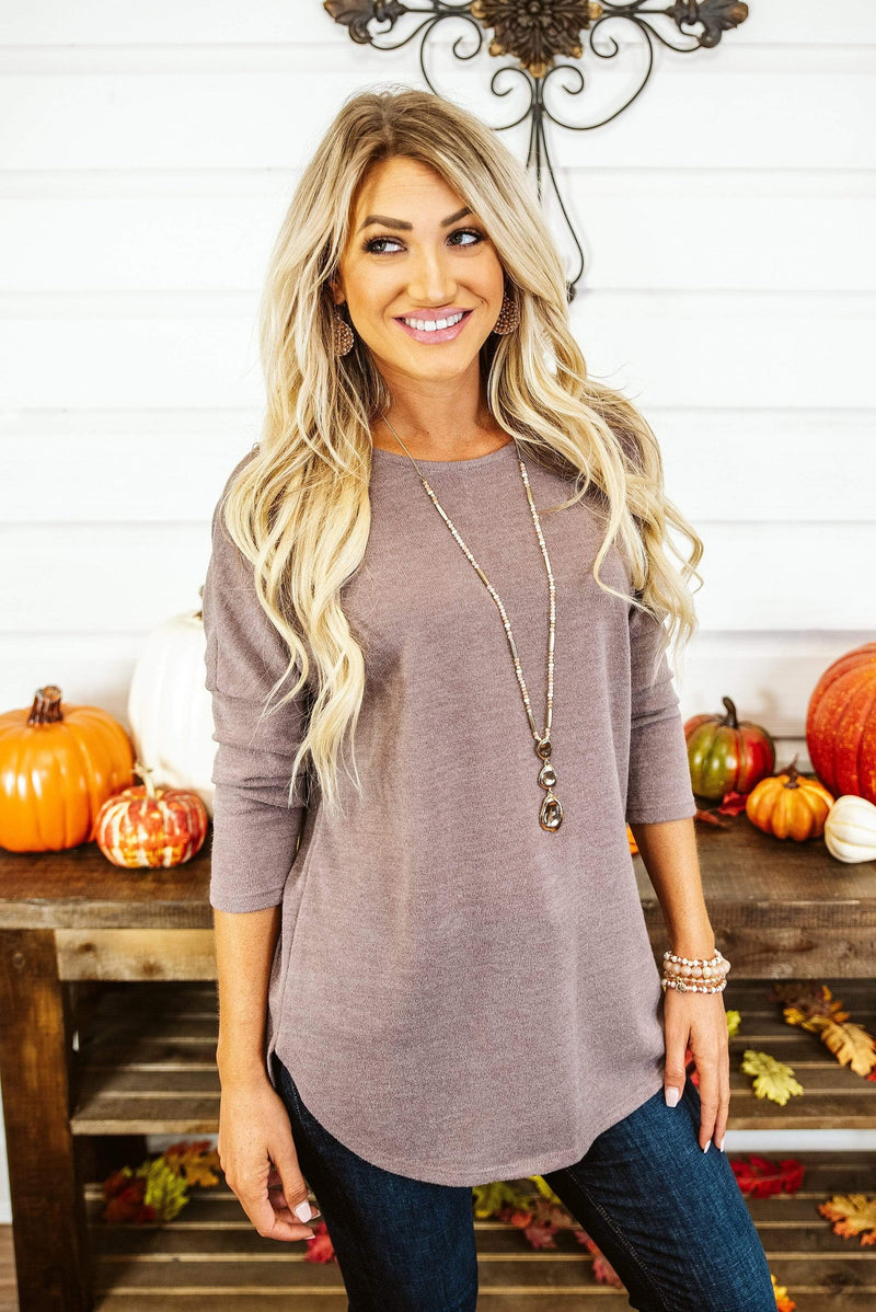 Glitzy Girlz Boutique Fall Fever Top, Taupe