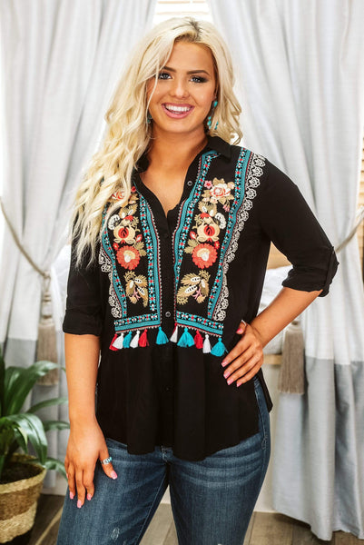 Glitzy Girlz Boutique Fall In Bloom Top, Black