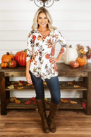 Glitzy Girlz Boutique Fall Surroundings Top, Ivory