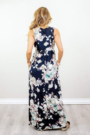 Glitzy Girlz Boutique Feel The Love Maxi Dress, Navy
