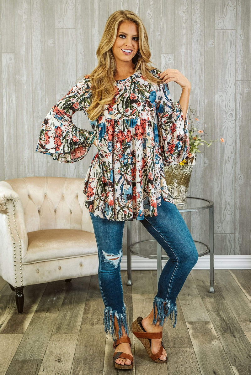 Glitzy Girlz Boutique Feeling Of Bliss Top, Ivory/Denim