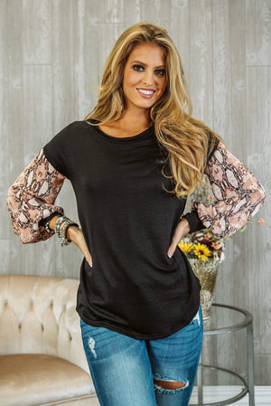 Glitzy Girlz Boutique Feeling Tempted Top, Black/Blush