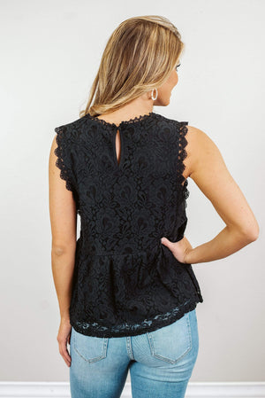 Glitzy Girlz Boutique Floral And Lace Top, Black