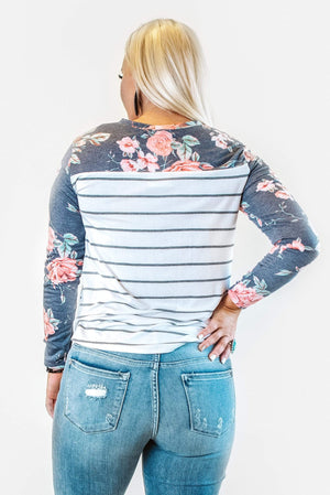 Glitzy Girlz Boutique Floral And Stripes Top, Denim Blue