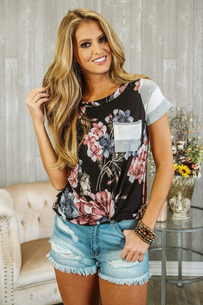 Glitzy Girlz Boutique Floral Frenzie Top, Black