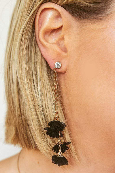 Glitzy Girlz Boutique Floral Layers Earrings, Black