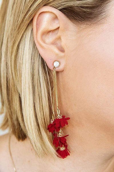 Glitzy Girlz Boutique Floral Layers Earrings, Burgundy