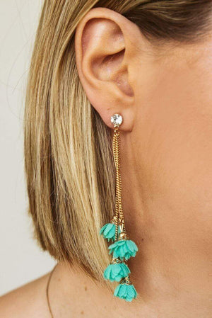 Glitzy Girlz Boutique Floral Layers Earrings, Mint