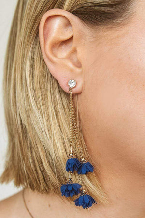 Glitzy Girlz Boutique Floral Layers Earrings, Royal