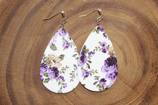 Glitzy Girlz Boutique Floral Teardrop Earrings, Purple