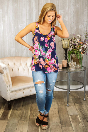 Glitzy Girlz Boutique Floral Traditions Top, Navy