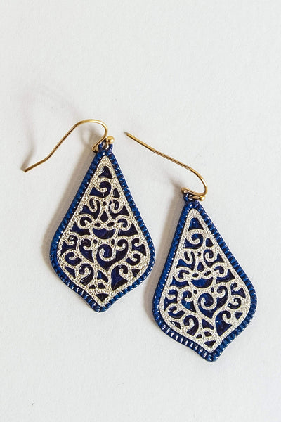 Glitzy Girlz Boutique Forever Yours Earrings, Navy