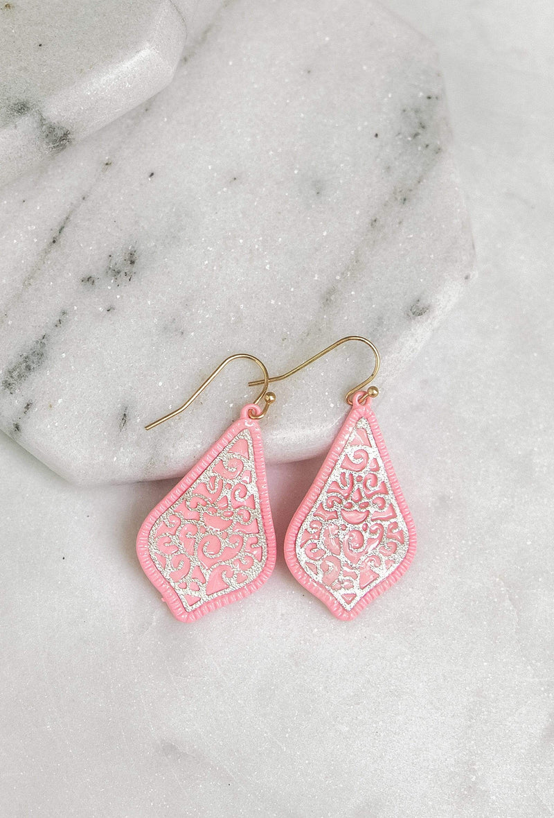 Glitzy Girlz Boutique Forever Yours Earrings, Pink