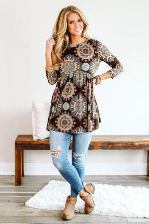 Glitzy Girlz Boutique Georgia Calling Top, Brown/Rust
