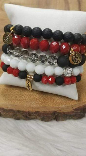 Glitzy Girlz Boutique GG Bracelet Set: Red Raider