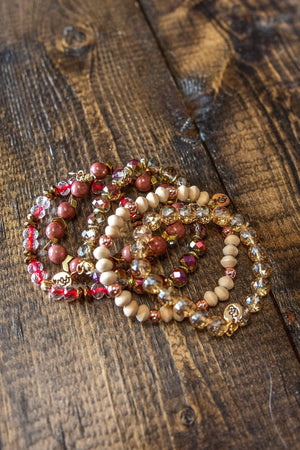 Glitzy Girlz Boutique GG Bracelet Set: Rusty Cappuchino