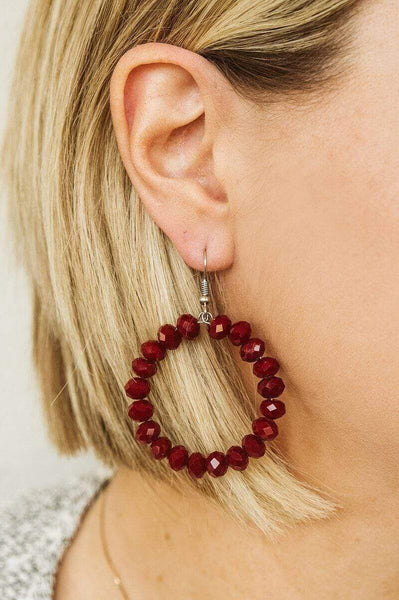Glitzy Girlz Boutique GG Classic Beaded Earrings, Burgundy