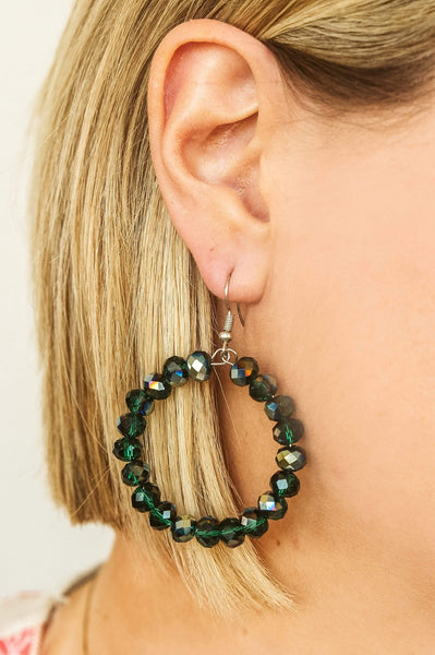 Glitzy Girlz Boutique GG Classic Beaded Earrings, Emerald Iridescent