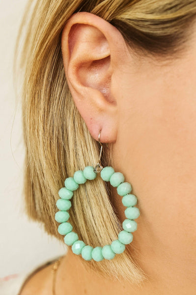 Glitzy Girlz Boutique GG Classic Beaded Earrings, Mint