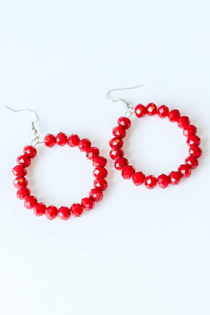 Glitzy Girlz Boutique GG Classic Beaded Earrings, Red
