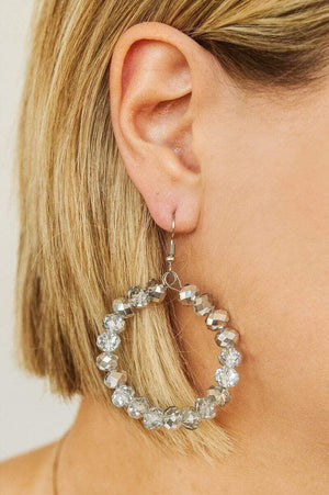 Glitzy Girlz Boutique GG Classic Beaded Earrings, Silver Mix