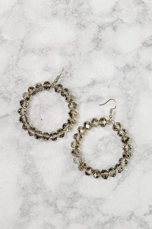 Glitzy Girlz Boutique GG Classic Beaded Earrings, Smokey Grey