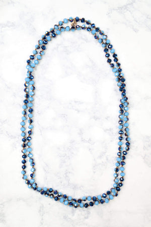 Glitzy Girlz Boutique GG Classic Beaded Necklace, Blue Iridescent