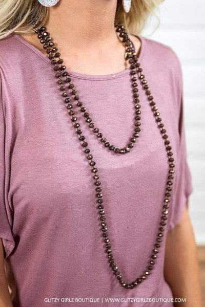 Glitzy Girlz Boutique GG Classic Beaded Necklace, Chocolate Shimmer