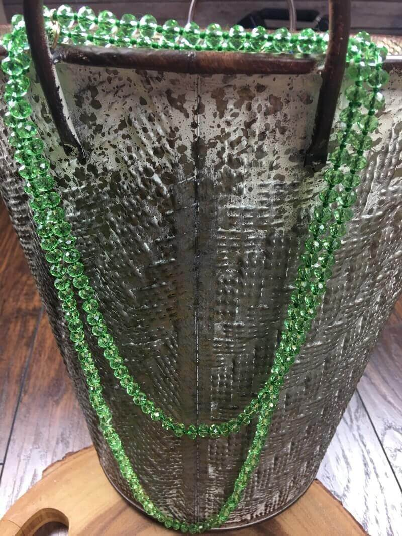 Glitzy Girlz Boutique GG Classic Beaded Necklace, Clear Emerald