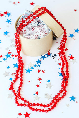 Glitzy Girlz Boutique GG Classic Beaded Necklace, Clear Red