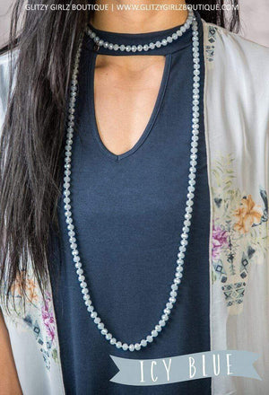 Glitzy Girlz Boutique GG Classic Beaded Necklace, Icy Blue