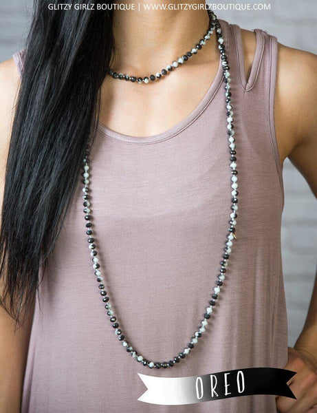 Glitzy Girlz Boutique GG Classic Beaded Necklace, Oreo