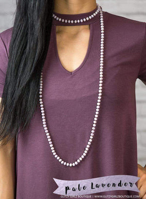 Glitzy Girlz Boutique GG Classic Beaded Necklace, Pale Lavender